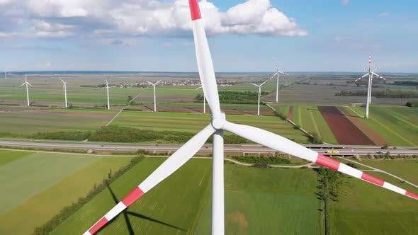 Thumbnail for Aerial View of Wind Turbines Farm and Agricultural Fields. Austria