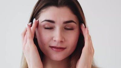 Facial Skincare Woman Enjoying Touching Face Skin