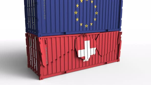 Thumbnail for Container with Flag of the EU Breaks Container with Flag of Switzerland