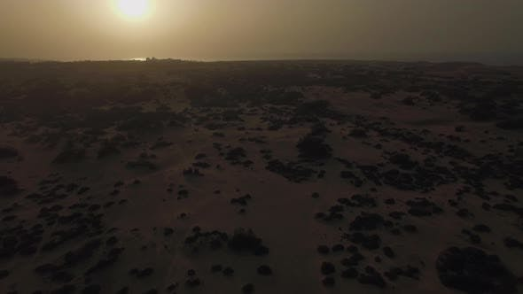 Thumbnail for Sandy Landscape at Sunset, Aerial View