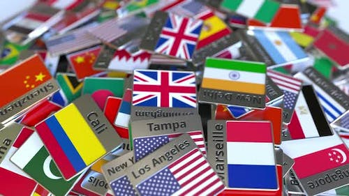 Souvenir Magnet with Bristol Text and Flag