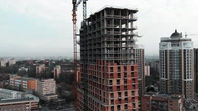 Construction Crane at Construction Site
