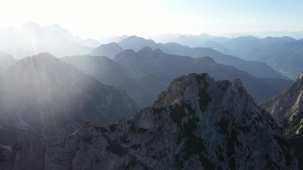 Cover Image for Flight above mountains peak in julian alps,Mangart,Triglav National Park