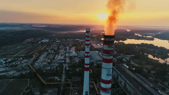 Thumbnail for Aerial Drone Footage. Coal Fire Power Station at Sunset.