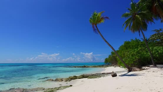 Thumbnail for Tropical overhead copy space shot of a paradise sunny white sand beach and blue ocean background in