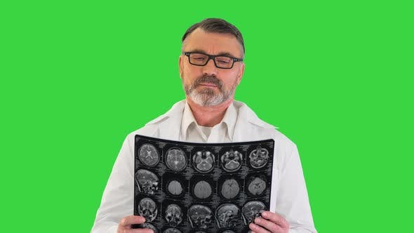 Thumbnail for Concentrated Doctor Examining Head Brain x Ray Picture on a Green Screen, Chroma Key.