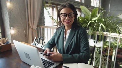 Businesswoman in Café
