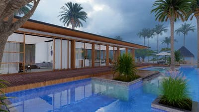 Hotel,Swimming Pool In Raining Day