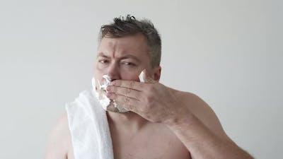 Man Grooming Facial Care Applying Shaving Foam