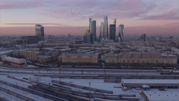 Thumbnail for Sunset Sky Night Light Moscow City Traffic Ring Road Aerial