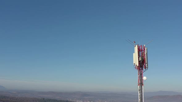 Thumbnail for Valley with  telecommunication tower  4K drone video