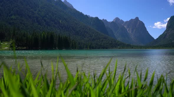 Cover Image for Lake Dobbiaco in the Dolomites, Italy