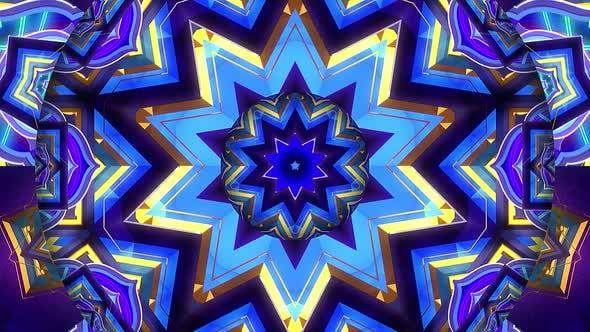 Gold Blue Ornament Kaleidoscope
