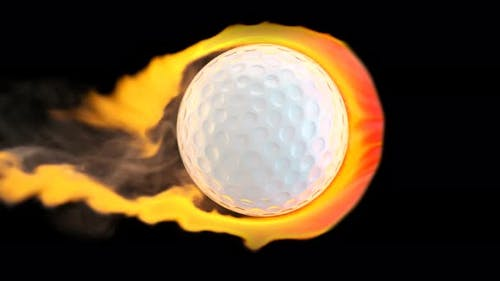 Flying golf ball on fire on a black background