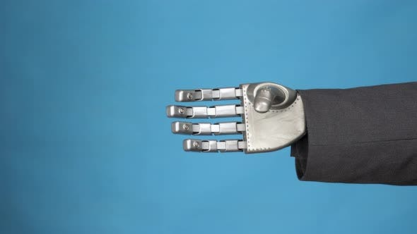 Thumbnail for A Young Woman Shakes the Gray Mechanical Arm of a Cyborg. Handshake of Two Businessmen. Hands
