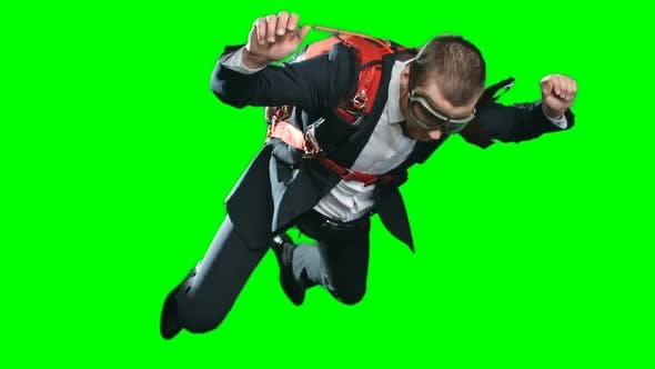 Business In Free Fall Chroma Key