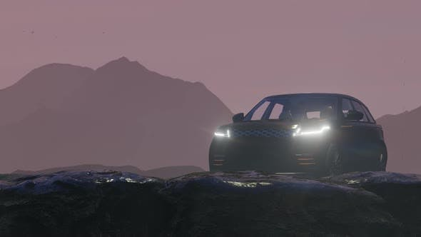 Thumbnail for Black Luxury Off-Road Vehicle Progressing in Rainy Mountain Area