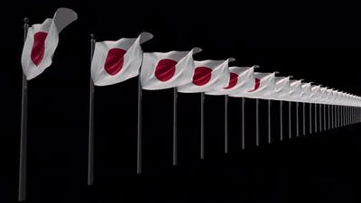 Row Of Japan Flags With Alpha 4K