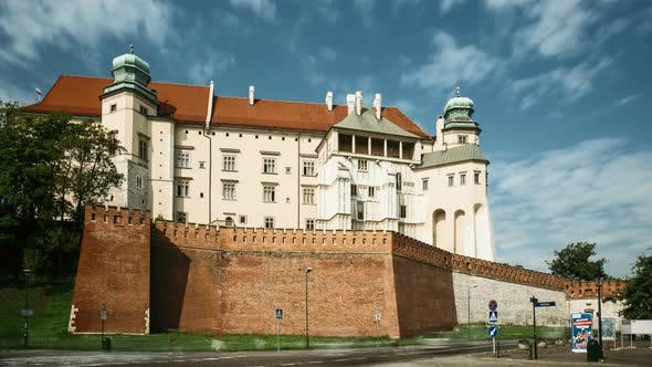 Krakow, Poland. Wawel Castle In Summer Day. Famous Landmark. UNESCO World Heritage Site. Fortified
