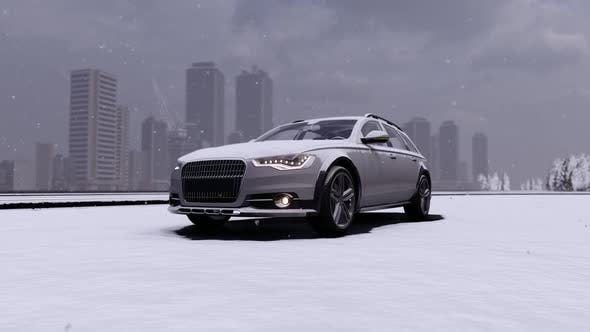 Thumbnail for Family White Car in Snowy Weather on the Street