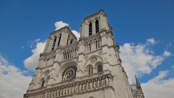 Time Lapse of the famous Notre Dame Cathedral in Paris France