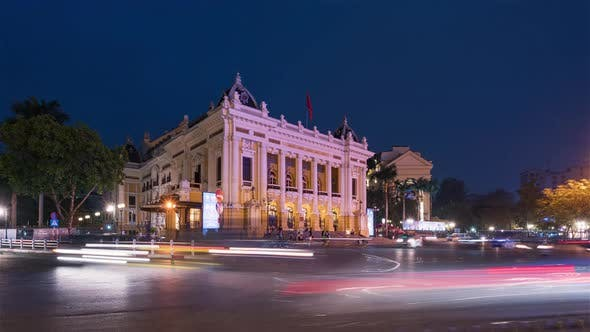 Thumbnail for Hanoi, Vietnam, Timelapse  - The Opera of Hanoi at Dusk