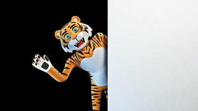 Tiger Greets And Advertises