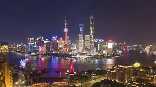 Shanghai City at Night. Aerial View