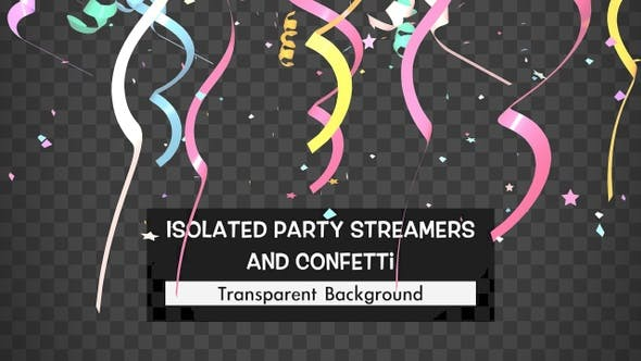 Isolated Party Streamers And Confetti
