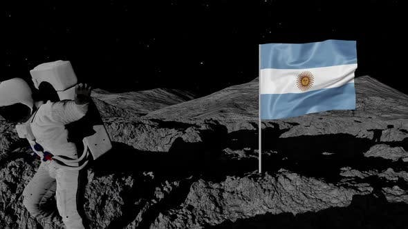 Argentina Flag on Moons Surface With Floating Astronaut