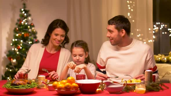Thumbnail for Happy Family Having Christmas Dinner at Home 6