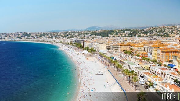 Thumbnail for Aerial Overview of the Promenade in Nice France