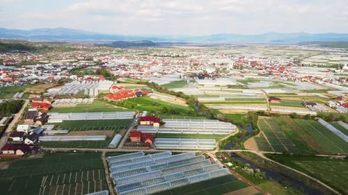 Flight Over Agricultural Greenhouses