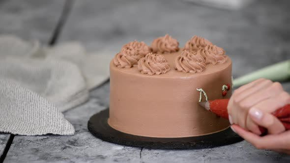 Thumbnail for Chef Decorating Chocolate Cake with Cream