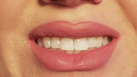 Thumbnail for Smiling Mouth in Close-up. Lips Smiling in Close-up