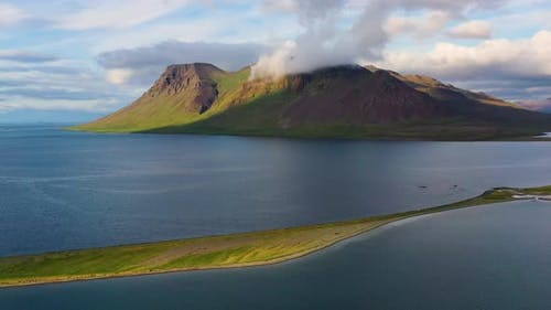 Iceland. Aerial View on The Coastline and Ocean. Landscape in The Iceland at The Day Time.