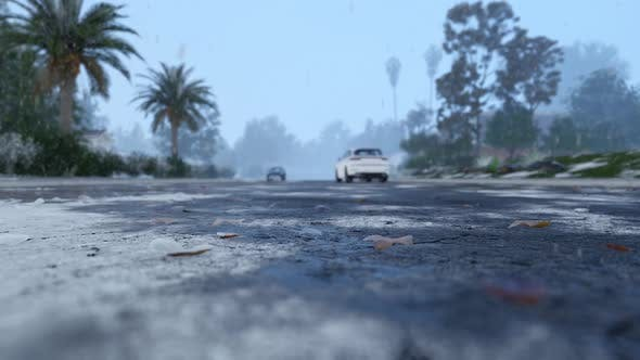 Thumbnail for Asphalt Road With Snow Slush At Winter City With Car Tire