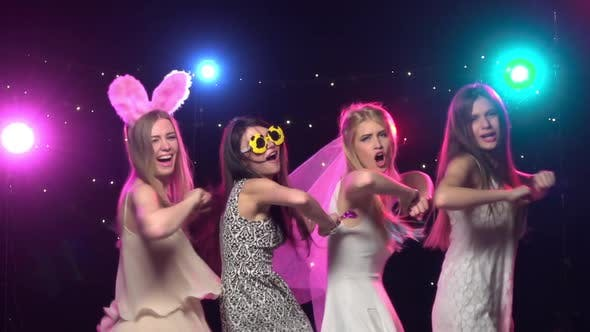 Thumbnail for Bachelorette Party Girlfriends Dancing and Making Similar Gestures. Slow Motion