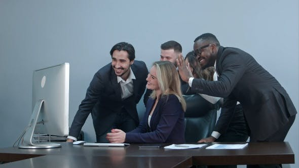 Group of multiracial businesspeople together videoconferencing