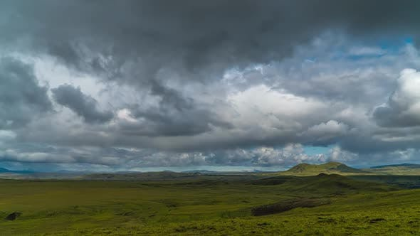 Thumbnail for Clouds Move Over the Mountains and Plain in Iceland