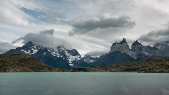 The iconic Patagonian mountains and the lake Pehoe during the day