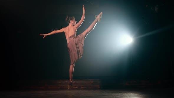 Thumbnail for Graceful ballerina in beige dress dancing elements of classical or modern ballet