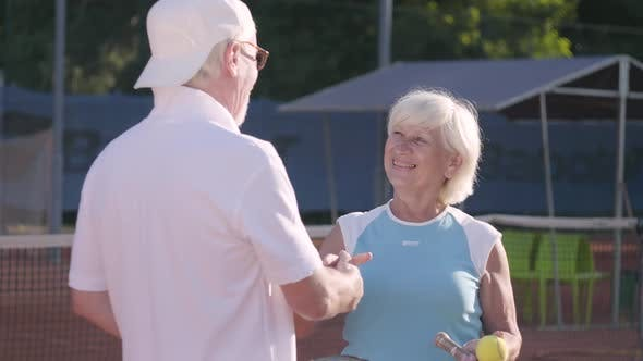Thumbnail for Smiling Mature Couple Shaking Hands After Playing Tennis on the Tennis Court