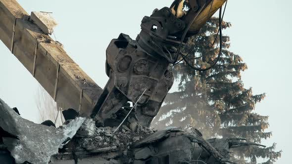 Thumbnail for Powerful Machine Pulling Down Ruined Walls of Abandoned Concrete Construction