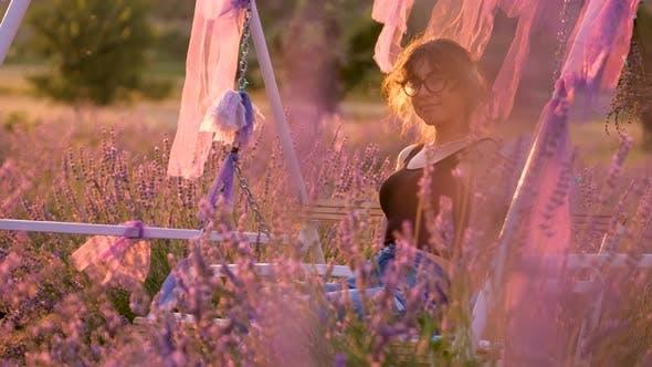 Tourist Woman in Lavender Garden