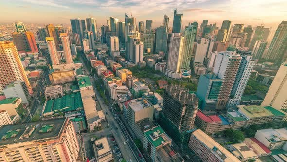 Cover Image for Panorama of the City of Manila with Skyscrapers Early in the Morning