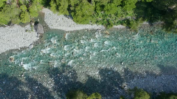 Drone Over Flowing Over Rocks In River