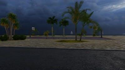 Basketball Court With Rain