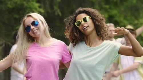 Happy Female Students Enjoying Summer Holidays, Dancing to Music at Cool Party
