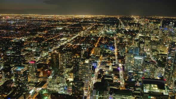 Thumbnail for Night Toronto, Canada. View From Above Timelapse